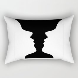 Two faces side by side- illusion of a vase also called Rubins vase Rectangular Pillow