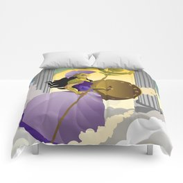 greek roman goddess athena minerva with shield and staff in the sky Comforters