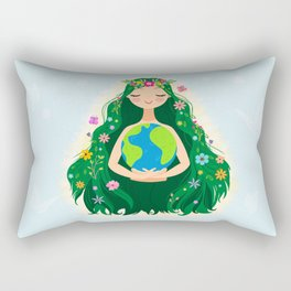 Beautiful Flowing Flower Earth Mother Figure Rectangular Pillow