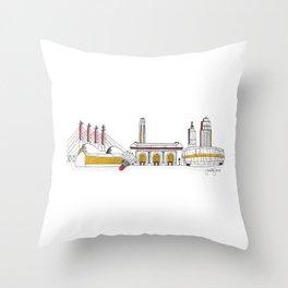 Kansas City Skyline Illustration in KC Football Colors Throw Pillow
