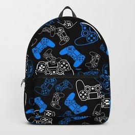 Video Games Blue on Black Backpack