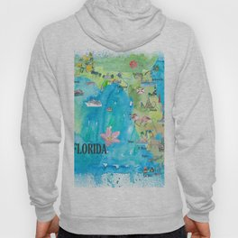 USA Florida State Fine Art Print Retro Vintage Map with Touristic Highlights Hoody