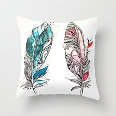 You & Me Feathers Throw Pillow