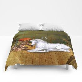 Little fairy with unicorn foal Comforters