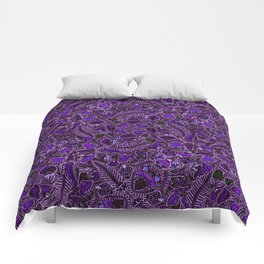 Ultraviolet Mushroom Wood, Field Ferns Leaves  in Lavender Purple Fungi Forest Painting Comforters