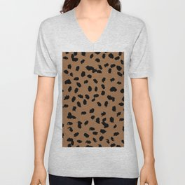 Little raw dalmatian spots cheetah animals print trend rusty copper brown black Unisex V-Neck