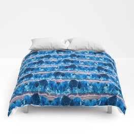 Blue Agate Geode Mountains Comforters