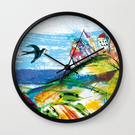 Swallow in the fairytale, painted pattern for kids, colourfull illustration Wall Clock