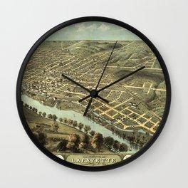 Bird's Eye View of Lafayette, Indiana (1868) Wall Clock