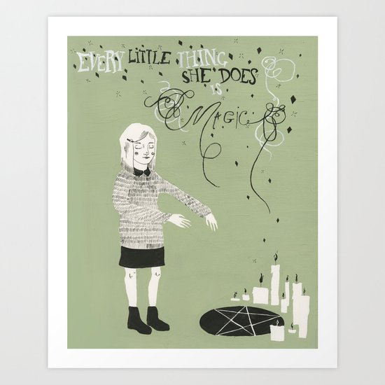 Every Little Thing She Does in green Art Print