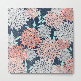 Leaves and Floral Prints, Navy Blue, Aqua, Gray and Coral Metal Print