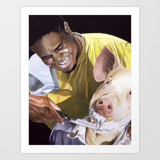 Shaving a Pig Art Print