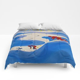 Vintage Winter Sports in France Travel Comforters