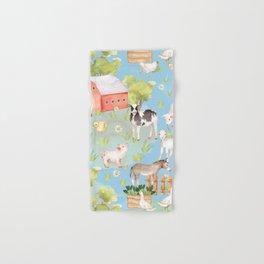 Farm Life - Little Cute Animals In A Meadow - On Blue  Hand & Bath Towel