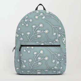 Baby's Breath Flower Pattern - Grey Green Backpack