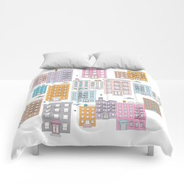 New York Brownstone Architecture - Pastel homes Comforters
