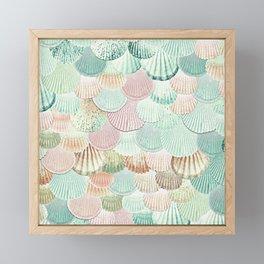 MERMAID SHELLS - MINT & ROSEGOLD Framed Mini Art Print