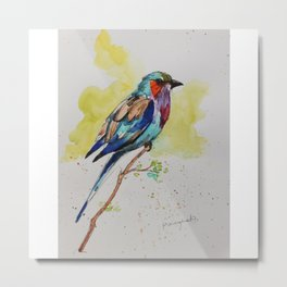 Lilac Bird - in watercolor Metal Print