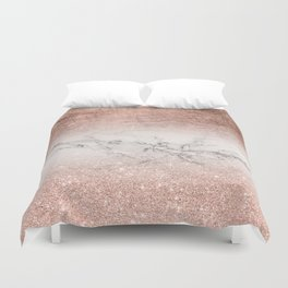 Modern faux rose gold glitter and foil ombre gradient on white marble color block Duvet Cover