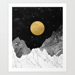 Moon and Stars Art Print