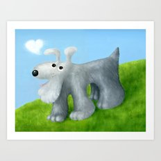 Dog With Cloud Heart Art Print