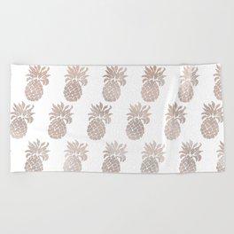Rose gold pineapples Beach Towel