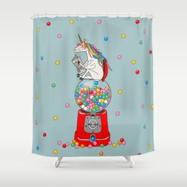 Unicorn Gumball Poop Shower Curtain