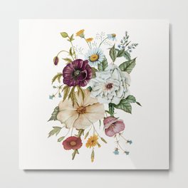Colorful Wildflower Bouquet on White Metal Print