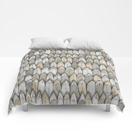 sketchy feather pattern in pale colors Comforters