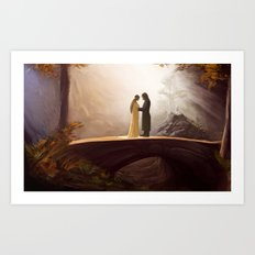 Arwen and Aragorn Art Print