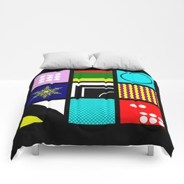 Eclectic 1 - Random collage of 9 bold colourful patterns in an abstract style Comforters