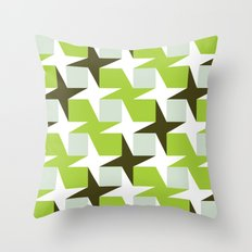 Green & brown stars & squares pattern Throw Pillow