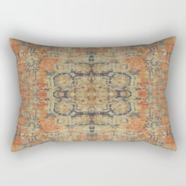 Vintage Woven Coral and Blue Kilim Rectangular Pillow