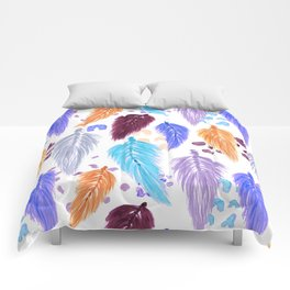 Watercolor Macrame Feathers + Dots in Lilac Rainbow Comforters