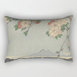 Cherry Blossoms on Spring River Ukiyo-e Japanese Art Rectangular Pillow