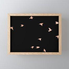 Rose Gold Black Birds Fly Free Framed Mini Art Print