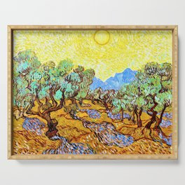 Vincent van Gogh - Olive Trees with yellow sky and sun - Digital Remastered Edition Serving Tray