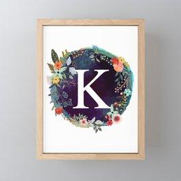 Personalized Monogram Initial Letter K Floral Wreath Artwork Framed Mini Art Print