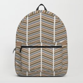 Chevron Pattern - Neutral Brown and Grey Backpack