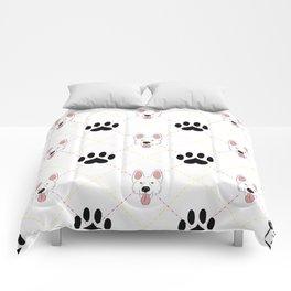 White German Shepherd Paw Print Pattern Comforters