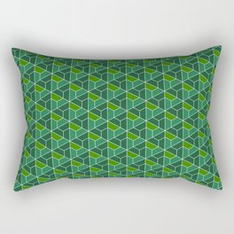 Pattern with triangles and trapezes in green Rectangular Pillow