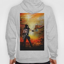 Eagle lands of the arm of the man Hoody