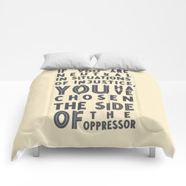 If you are neutral in situations of injustice, Desmond Tutu quote, civil rights, peace, freedom Comforters