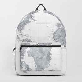 "Gray watercolor highly detailed world map, ""Jimmy"" Backpack"