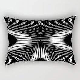 Geometric Black and White Skeleton African-Inspired Pattern Rectangular Pillow