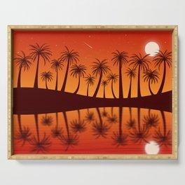 Orange Island Starry Sky Sunset Serving Tray