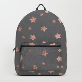 Rose gold Christmas stars geometric pattern grey graphite industrial cement concrete Backpack