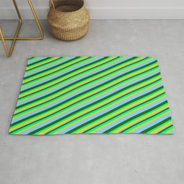 Dark Green, Green, Yellow & Light Sky Blue Colored Lined Pattern Rug
