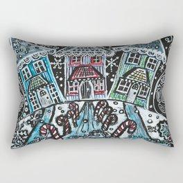 Christmas Snow Village on Black Rectangular Pillow
