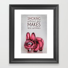 Smoking without skin Framed Art Print